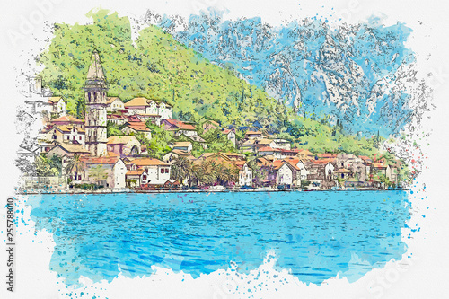 Watercolor sketch or illustration of a beautiful view of the architecture of Perast in Montenegro