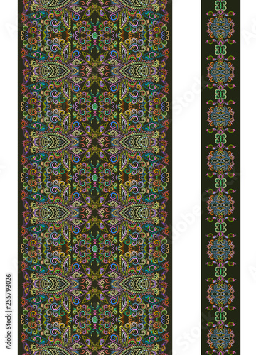 Fotografering  Seamless vertical border  with decorative elements