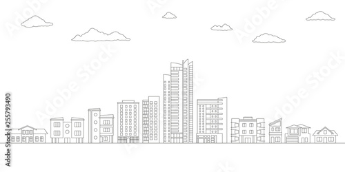 Montage in der Fensternische Weiß Outline City or Town with Buildings and Houses. Modern Urban Landscape. Cityscape with Skyline. Vector illustration.
