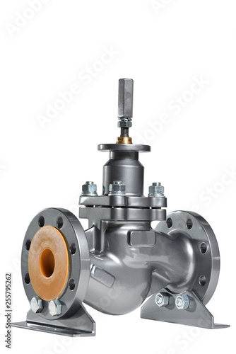 Fotografía  The new valve is silver gray for installation in the water supply system