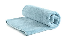 Rolled Soft Terry Towel On White Background