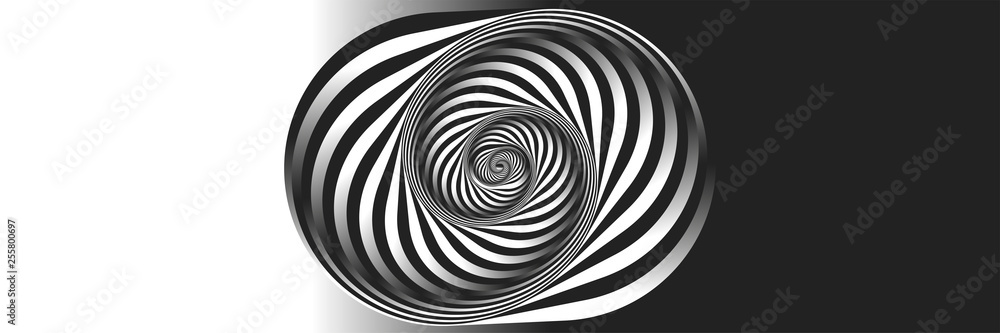 Fototapeta Surrealism. Psychology and philosophy, a sample for printing. Black and white fractal background. Escher style. Images in the style of optical visual illusions - pop art.