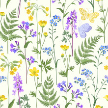 Seamless Floral Pattern With Spring Flowers