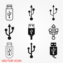 Usb Icon Vector Sign Symbol For Design