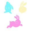Cute set color Easter bunny. illustration isolated on background