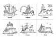 Vector illustration of doodle sketch outline boats with yacht, icebreaker, corvette, tugboat, carrack and cruiser Aurora. Coloring book with ships.