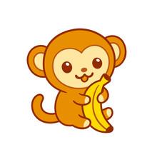 Cute Cartoon Baby Monkey With ...