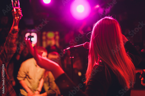 Entertianment at a wedding. A female singer is interacting with the crowd while a man plays an acoustic guitar. - 255813014