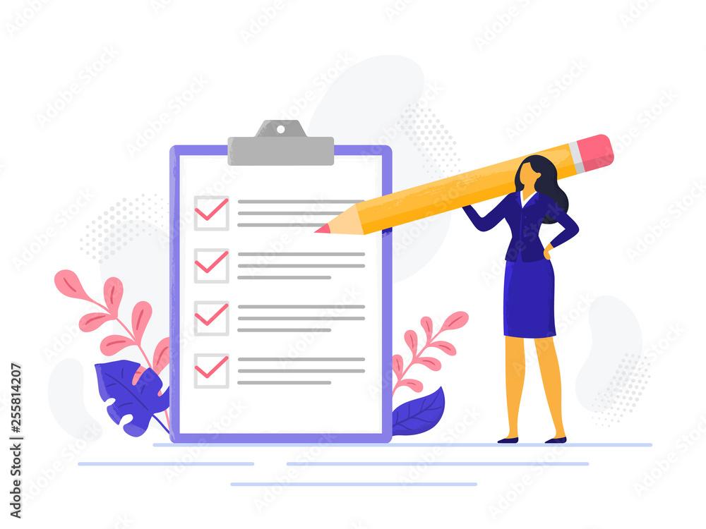 Fototapeta Businesswoman checklist. Successful woman checking task success, completed business tasks. Check mark list vector illustration