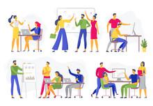 Team Collaboration. Teamwork Workshop Meeting, Creative Brainstorm And Office Workers Teams Flat Vector Illustration Set