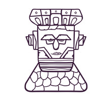 Colorful Totem Mask. A Wooden Mask On A Stone Pedestal, With Emotional Expressions. Vector Linear Flat Illustration.