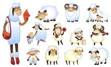 Sheep Icons Set. Cartoon Set Of Sheep Vector Icons For Web Design