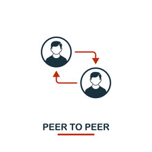 Peer To Peer Icon. Creative Two Colors Design From Crypto Currency Icons Collection. Simple Pictogram Peer To Peer Icon For Web Design, Apps, Software, Print Usage