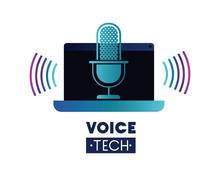 Voice Tech Label With Laptop A...