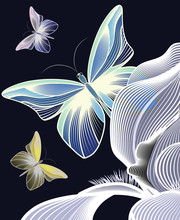 Delicate Iris With Three Air Butterflies,Outline Of A Contour Iris, A Gentle Iris Filled With Strokes