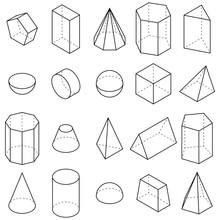 Set Of Geometric Shapes. Isometric Views. Vector Illustration