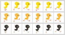 Running Colorful Chickens Anim...