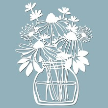 Echinacea, Dandelions With Scheffler In A Jar Of Water. Vector Illustration. Paper Flower, Stickers. Laser Cut. Template For Plotter. Pattern For The Laser Cut, Serigraphy, Plotter And Screen Printing