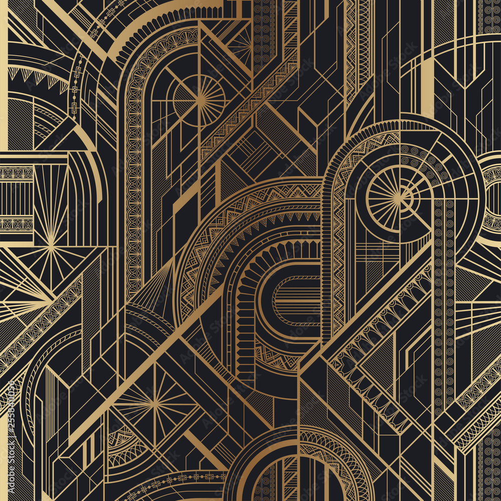 Fototapeta Seamless art deco geometric gold and black pattern