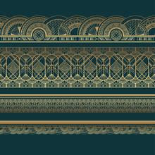 Gold Art Deco Borders On Dark Turquoise Background
