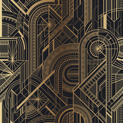 Panel Szklany Podświetlane Art Deco Seamless art deco geometric gold and black pattern