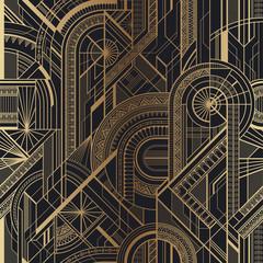 Fototapeta Art Deco Seamless art deco geometric gold and black pattern