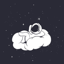 Astronaut Lies On The Cloud
