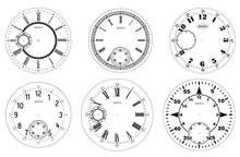 Clock Face Blank Set Isolated On White Background. Vector Watch Design. Vintage Roman Numeral Clock Illustration. Black Number Round Scale.