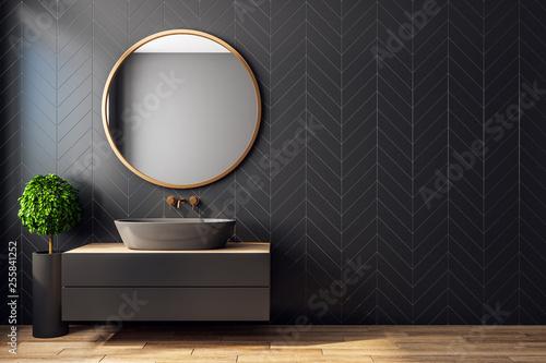 Obraz Modern black bathroom interior - fototapety do salonu