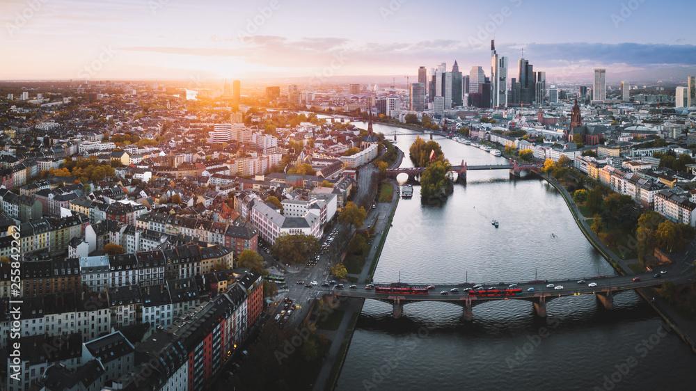 Fototapety, obrazy: Frankfurt from above at sunset