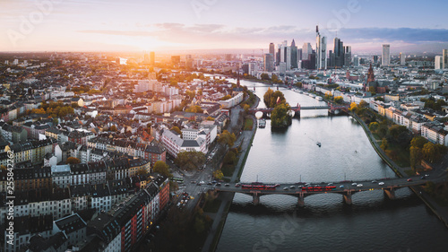 Frankfurt from above at sunset