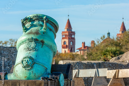 Spanish bronze alloy mortar from Castillo de San Marcos overlooking Flagler coll Canvas Print