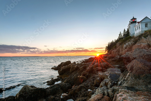 Fotografie, Obraz  Sunset over picturesque Bass Harbor lighthouse on Mt Desert island, Maine