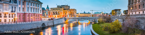 Stockholm city center with Royal Swedish Opera at twilight, Sweden, Scandinavia Wallpaper Mural