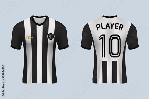 df9263cbd 3D realistic mock up of front and back of Black and white soccer jersey t-