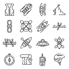 Canoeing Icons Set. Outline Se...