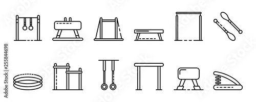 Photo Gymnastics equipment icons set
