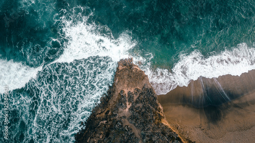 Aerial View of Waves and Beach of Bells Beach Australia