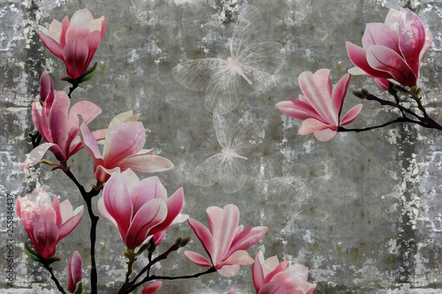 3d-tapeta-magnoliowy-kwiat-na-betonowej-scianie-textured-tlo-oryginalny-panel-zmieni-twoj-pokoj-w-najnowsze-swiatowe-trendy-we-wnetrzu