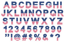 Flat Usa Flag Colors Font, Letters, Numbers, Symbols And Signs, Stock Vector Illustration Clip Art