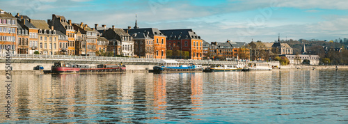 Photo Stands Ship Historic town of Namur with ships along river Meuse, Wallonia, Belgium