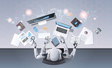 Robot With Many Hands Using Digital Devices At Workplace Desk Office Stuff Working Process Top Angle View Artificial Intelligence Technology Concept Horizontal