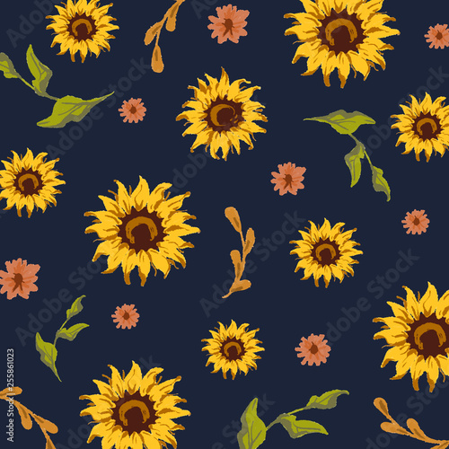 Seamless sunflower pattern Fototapete