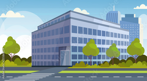 Vászonkép corporate business center modern office building view cityscape background flat