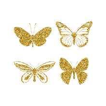 Set Gold Glitter Butterflies. ...