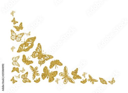 Obraz na plátně  Golden glitter butterfly silhouettes kite texture in corner on white