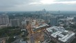 Evening sunset fog over Atlanta downtown panorama skyline with busy streets and