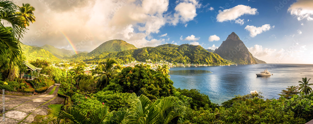 Fototapety, obrazy: St. Lucia - Caribbean Sea with Pitons and Rainbow