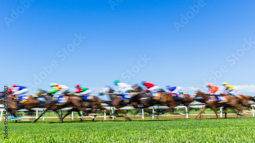 Obraz na plátne Horse Racing Jockeys Animals Running Grass Track Action Speed Motion Blur Photo