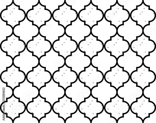 Fotografiet Moroccan Quatrefoil Seamless Pattern Mosaic Ogee Vector